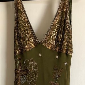 Adrianna Papell Olive-Green Beaded V-Neck Dress